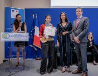 Brune Poirson remet les trophées de l'économie circulaire à l'Auditorium de l'Hôtel de Roquelaure le 30 mai 2018.